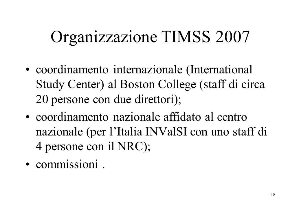 Organizzazione TIMSS 2007 coordinamento internazionale (International Study Center) al Boston College (staff di circa 20 persone con due direttori);