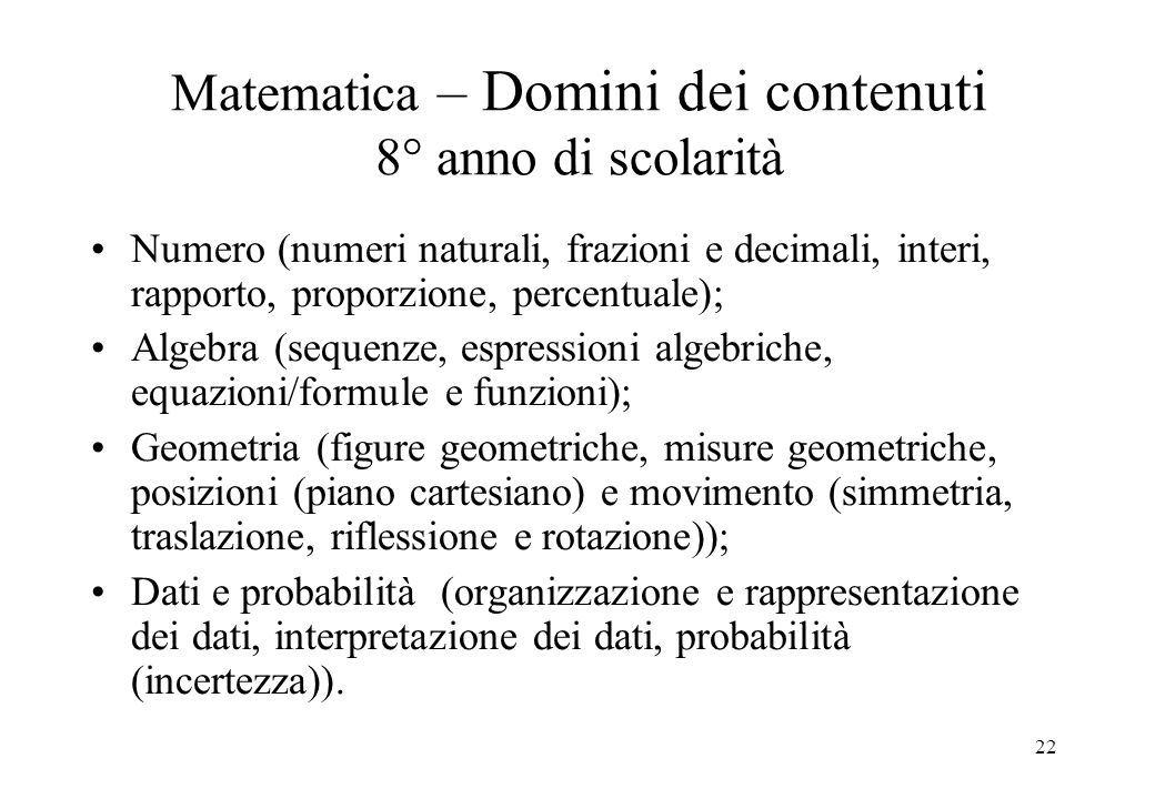 Matematica – Domini dei contenuti 8° anno di scolarità