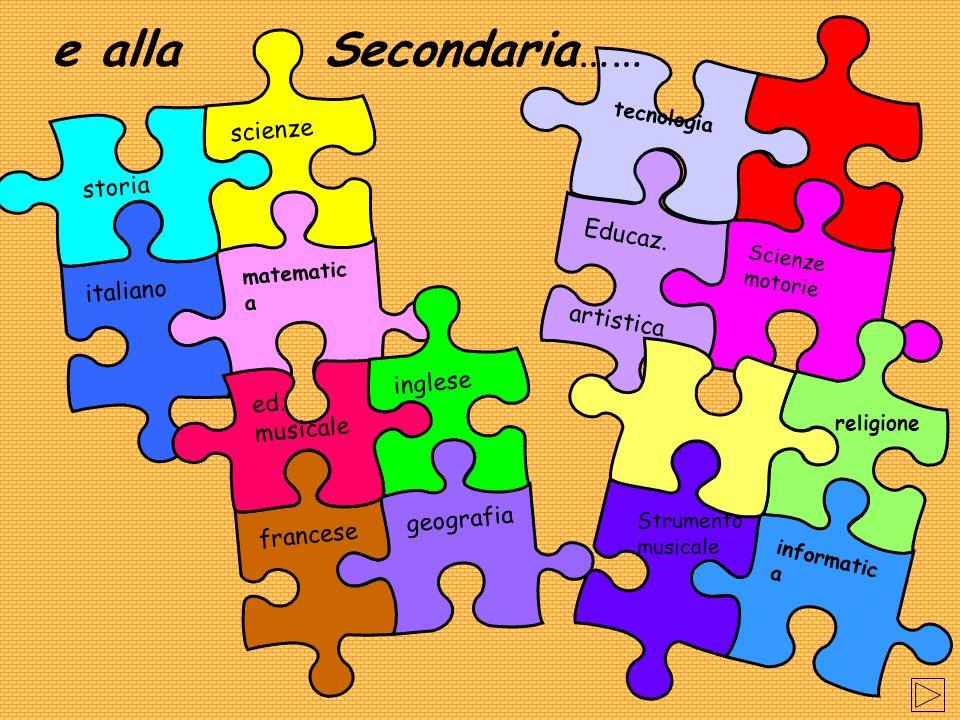 e alla Secondaria…… scienze storia Educaz. artistica italiano inglese
