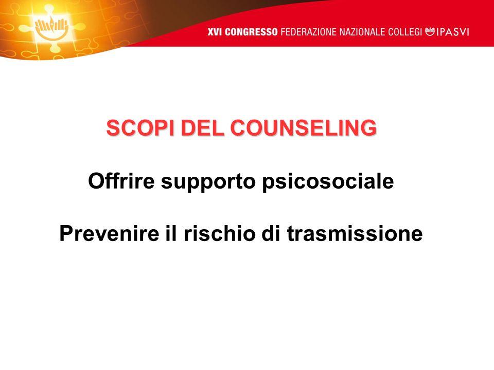 Offrire supporto psicosociale Prevenire il rischio di trasmissione