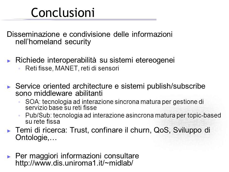 Conclusioni Disseminazione e condivisione delle informazioni nell'homeland security. Richiede interoperabilità su sistemi etereogenei.