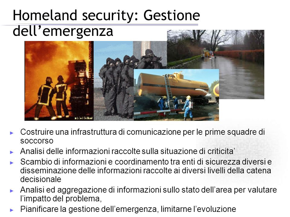 Homeland security: Gestione dell'emergenza