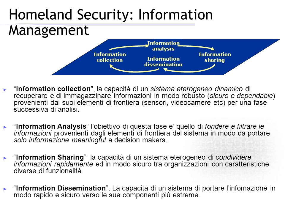 Homeland Security: Information Management