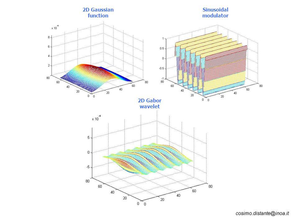 2D Gaussian function Sinusoidal modulator 2D Gabor wavelet