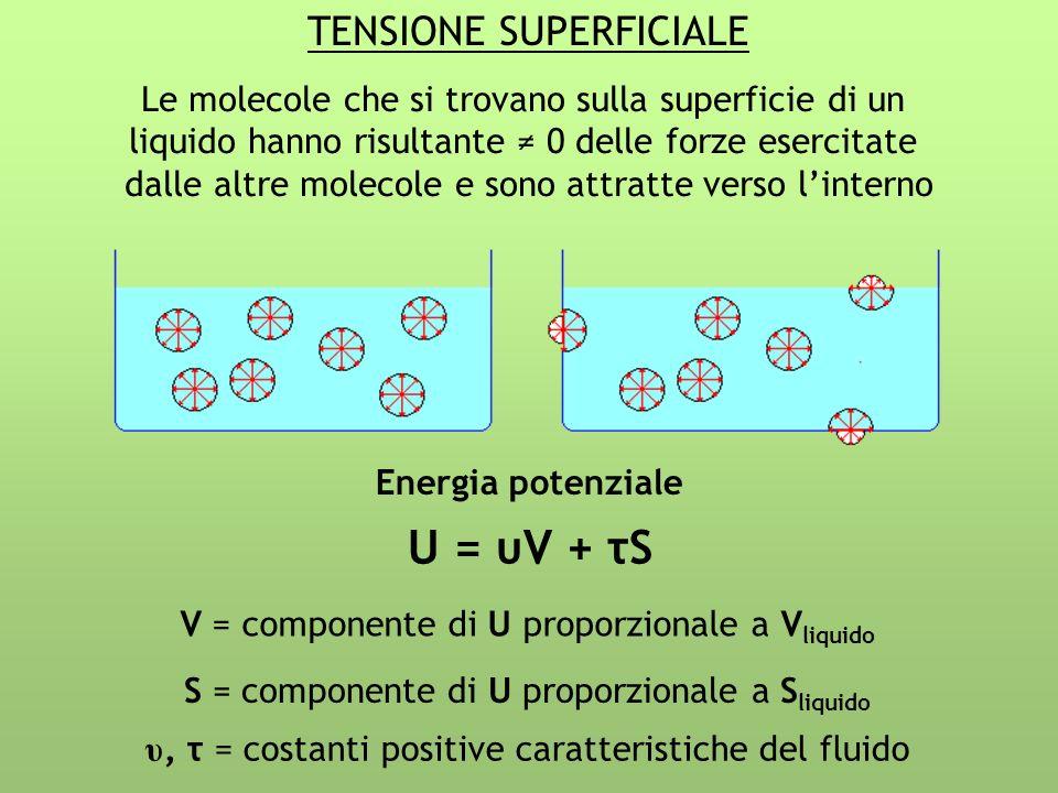 U = υV + τS TENSIONE SUPERFICIALE