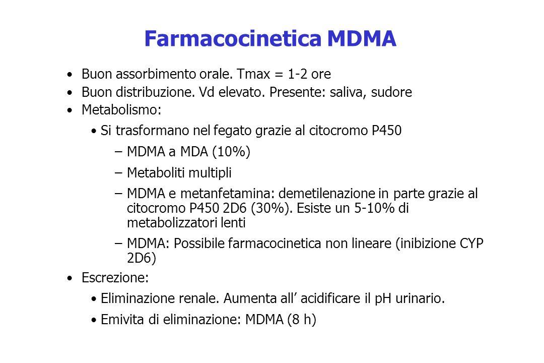 Farmacocinetica MDMA Buon assorbimento orale. Tmax = 1-2 ore