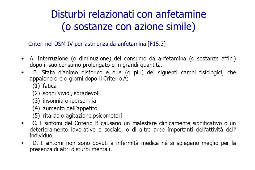 Disturbi relazionati con anfetamine (o sostanze con azione simile)