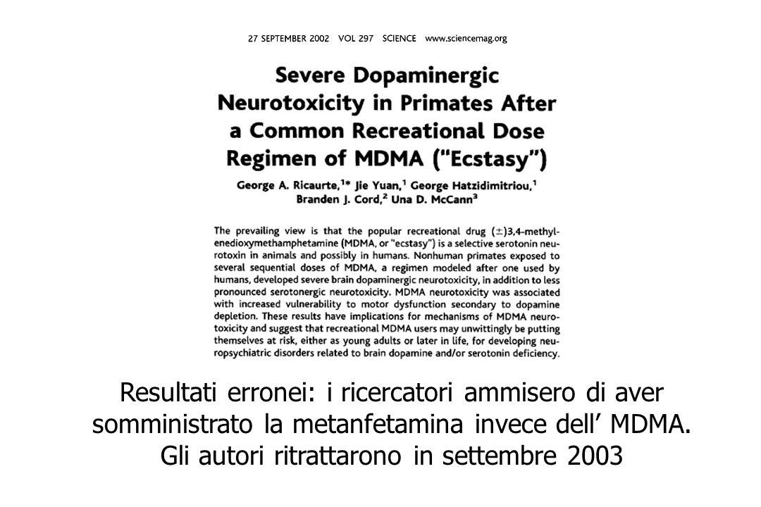 Resultati erronei: i ricercatori ammisero di aver somministrato la metanfetamina invece dell' MDMA.