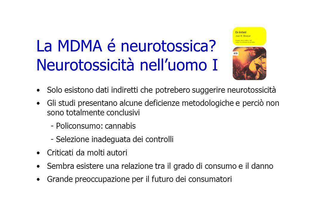La MDMA é neurotossica Neurotossicità nell'uomo I