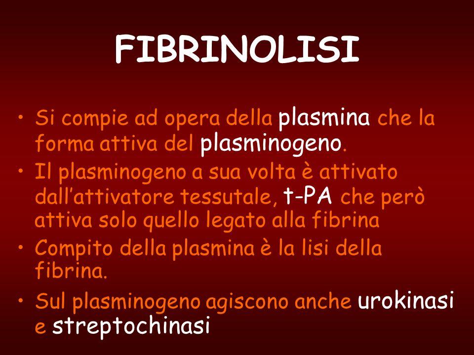 FIBRINOLISI Si compie ad opera della plasmina che la forma attiva del plasminogeno.