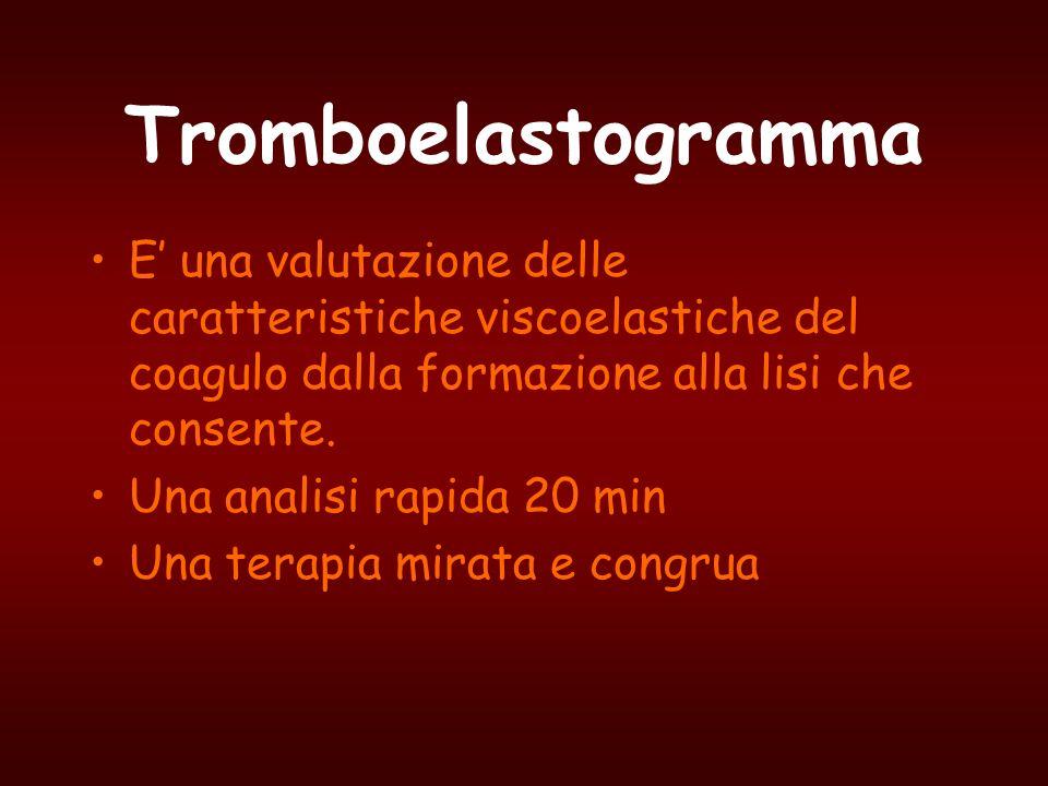 Tromboelastogramma E' una valutazione delle caratteristiche viscoelastiche del coagulo dalla formazione alla lisi che consente.