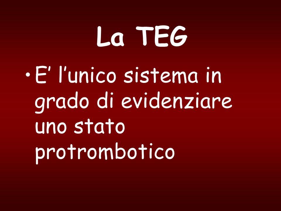 La TEG E' l'unico sistema in grado di evidenziare uno stato protrombotico