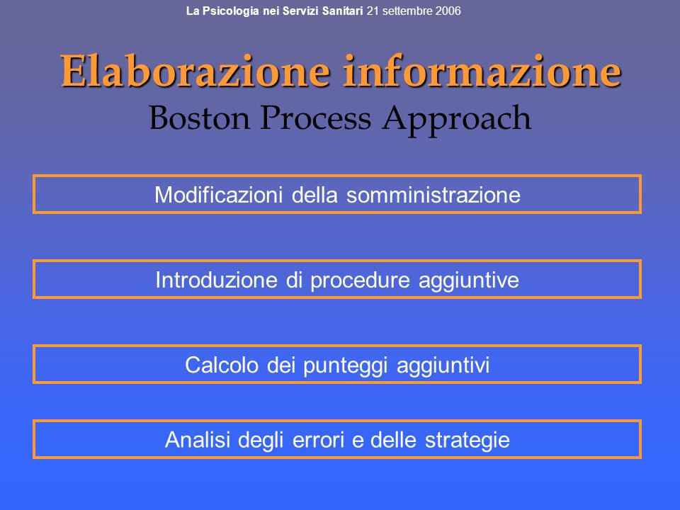 Elaborazione informazione Boston Process Approach