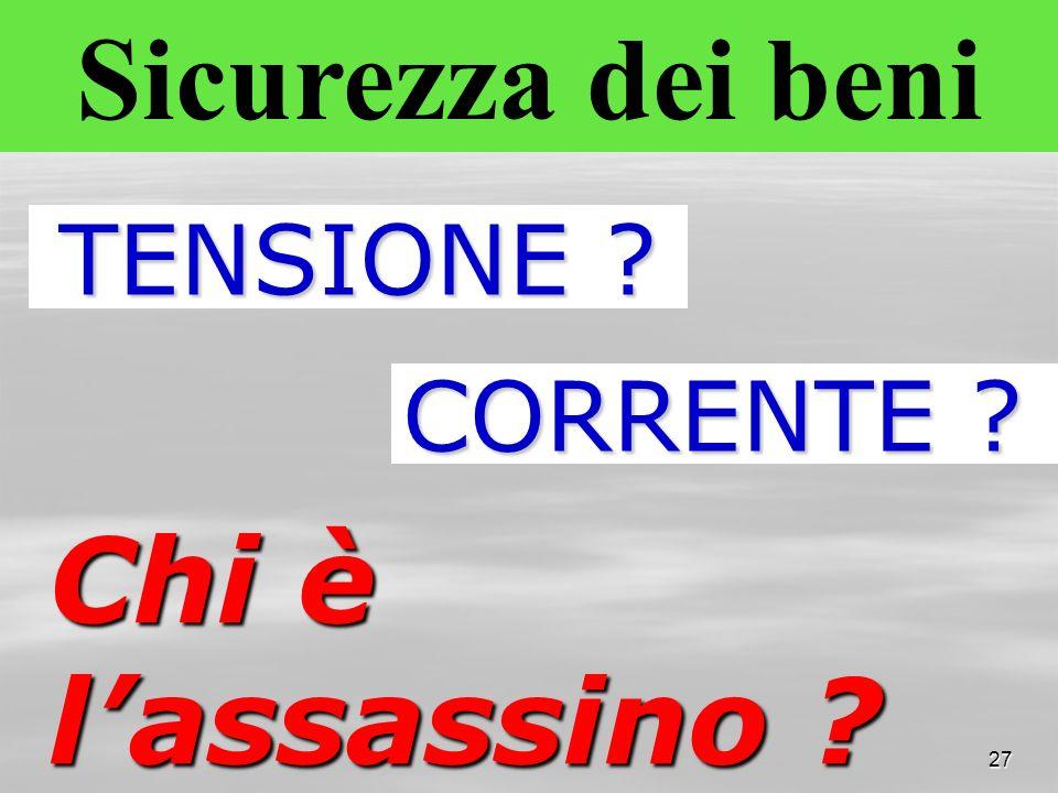 Sicurezza dei beni Chi è l'assassino TENSIONE CORRENTE