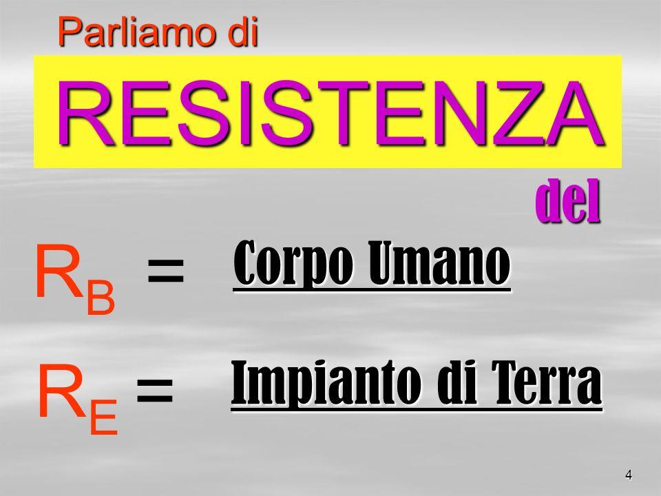 RESISTENZA RB = RE = del Corpo Umano Impianto di Terra Parliamo di