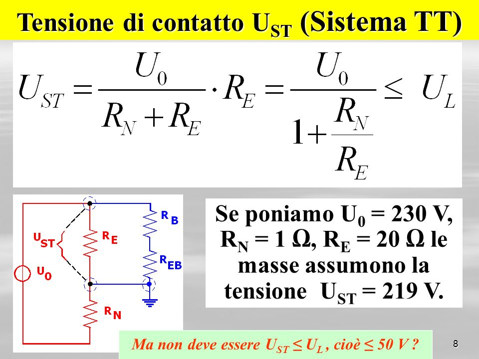Tensione di contatto UST (Sistema TT)