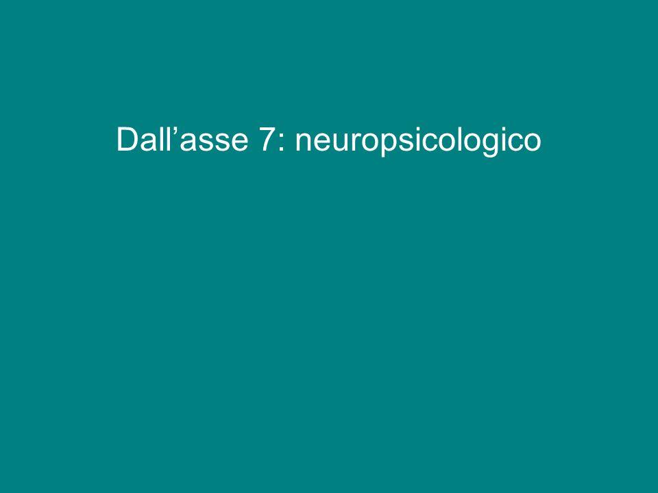 Dall'asse 7: neuropsicologico