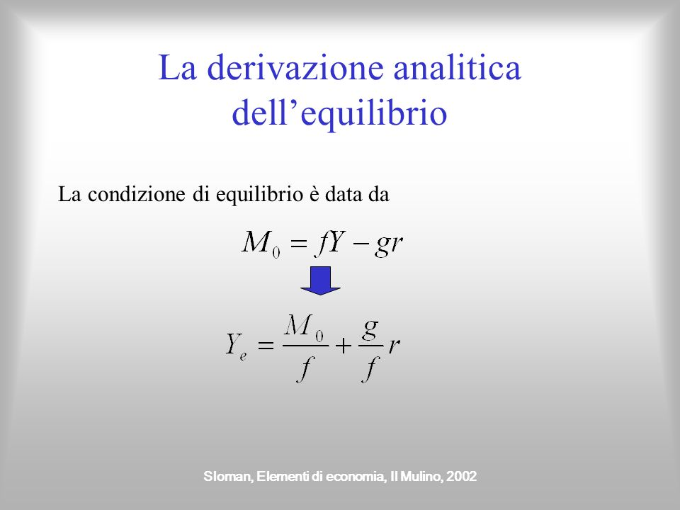 La derivazione analitica dell'equilibrio
