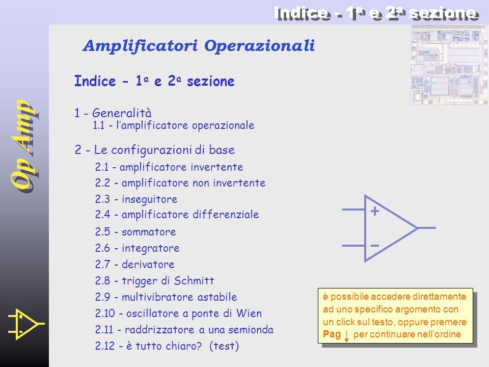 Op Amp Indice - 1a e 2a sezione Amplificatori Operazionali