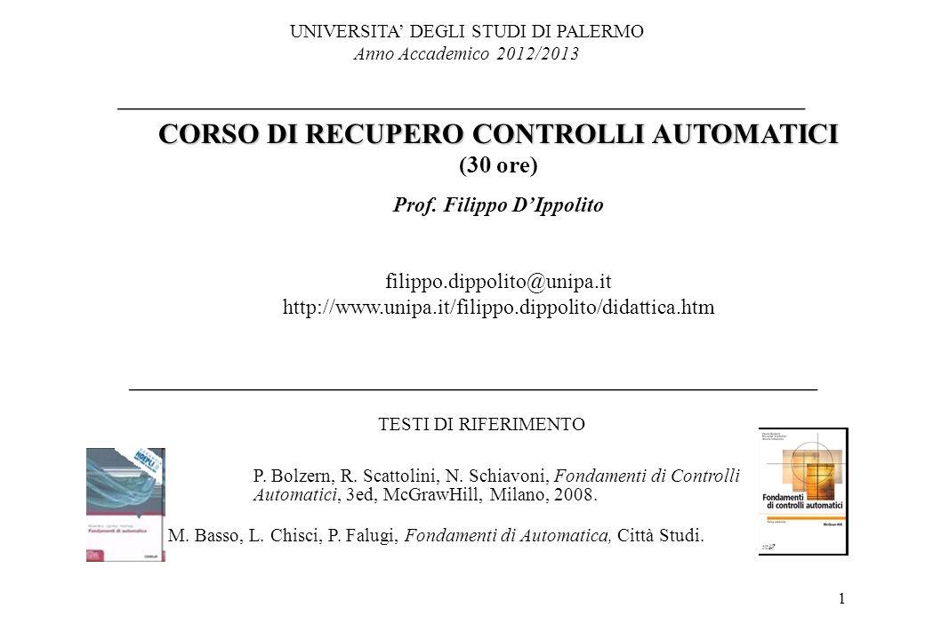 CORSO DI RECUPERO CONTROLLI AUTOMATICI Prof. Filippo D'Ippolito