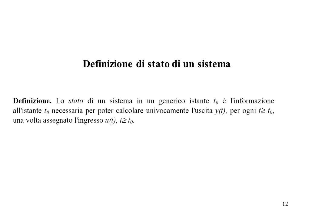 Definizione di stato di un sistema