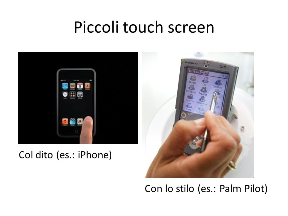 Piccoli touch screen Col dito (es.: iPhone)