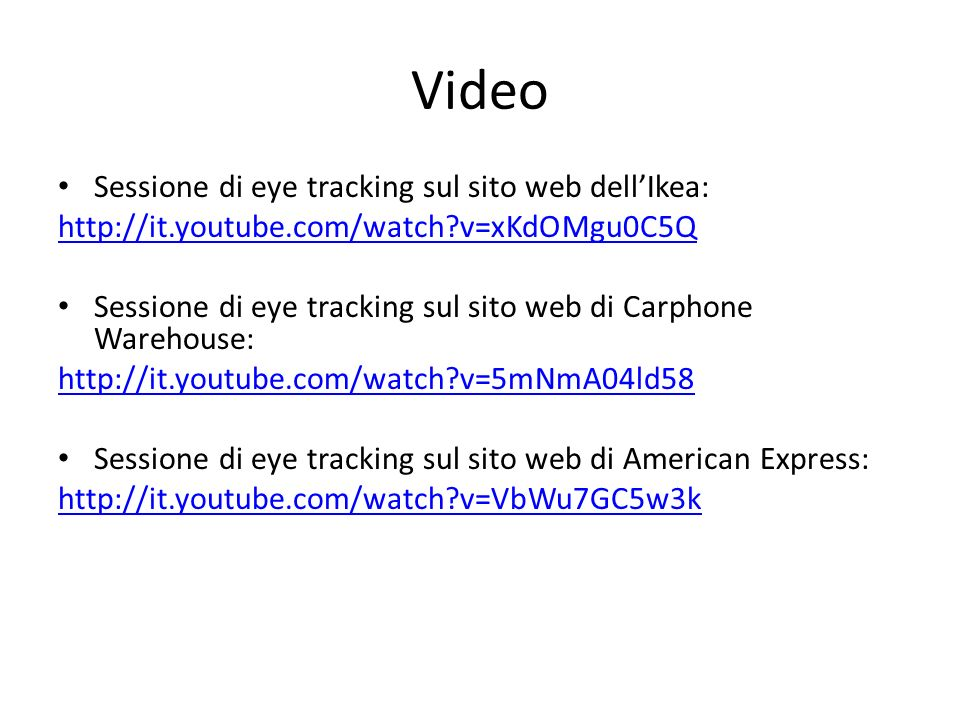 Video Sessione di eye tracking sul sito web dell'Ikea: