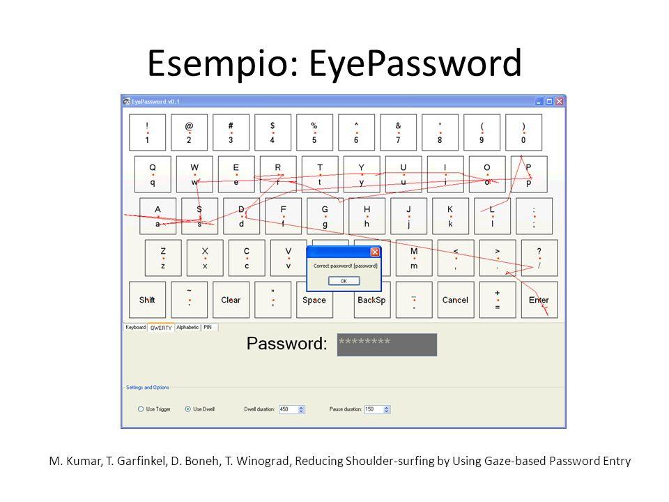 Esempio: EyePassword M. Kumar, T. Garfinkel, D. Boneh, T.