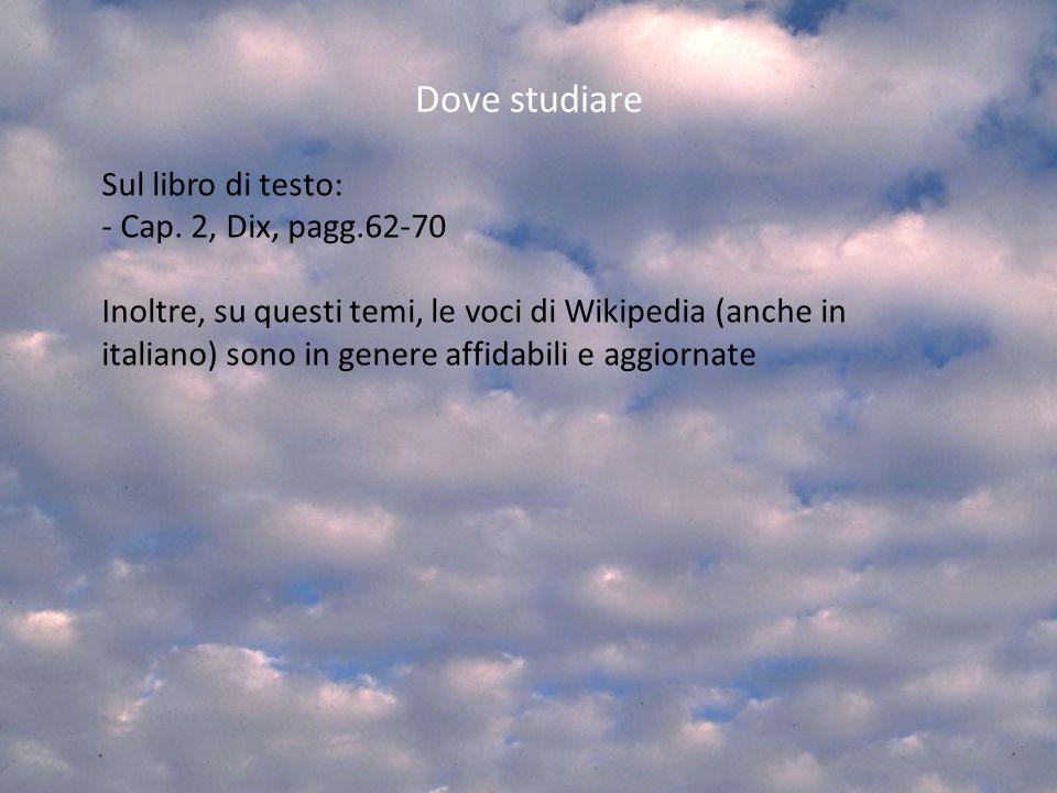 Dove studiare Sul libro di testo: Cap. 2, Dix, pagg.62-70