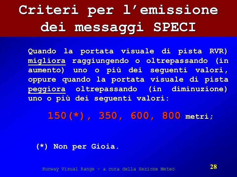 Criteri per l'emissione dei messaggi SPECI