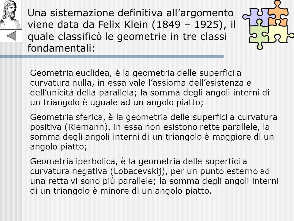 Una sistemazione definitiva all'argomento viene data da Felix Klein (1849 – 1925), il quale classificò le geometrie in tre classi fondamentali: