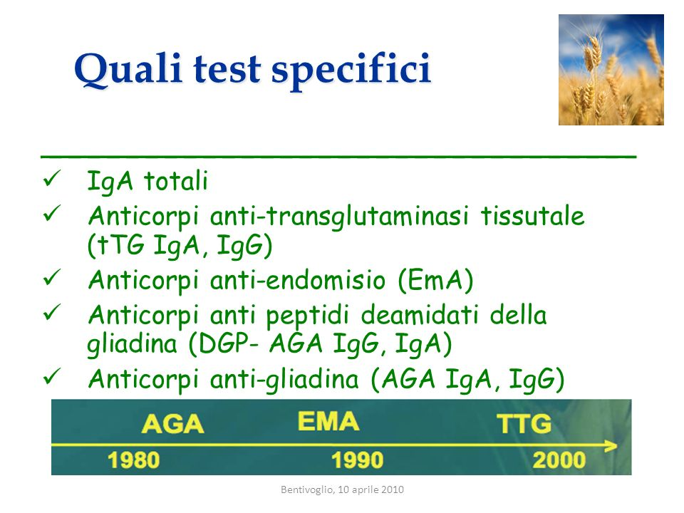 Quali test specifici _______________________________ IgA totali
