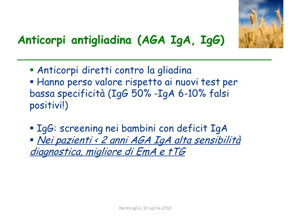 Anticorpi antigliadina (AGA IgA, IgG)