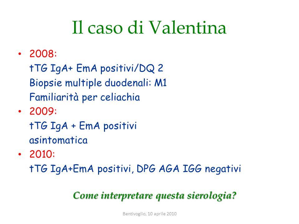 Il caso di Valentina 2008: tTG IgA+ EmA positivi/DQ 2