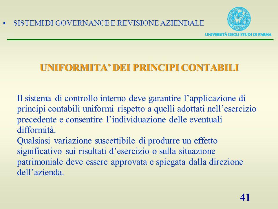 UNIFORMITA' DEI PRINCIPI CONTABILI