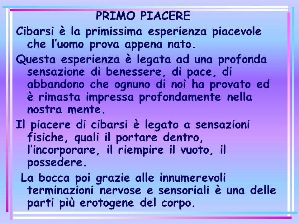 PRIMO PIACERE Cibarsi è la primissima esperienza piacevole che l'uomo prova appena nato.