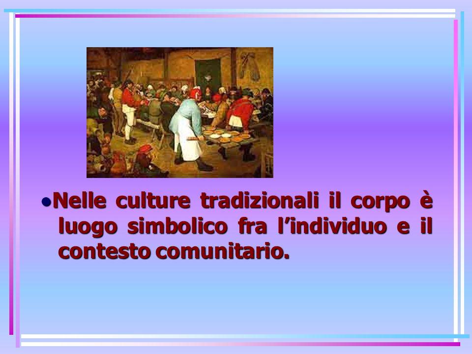 •Nelle culture tradizionali il corpo è luogo simbolico fra l'individuo e il contesto comunitario.