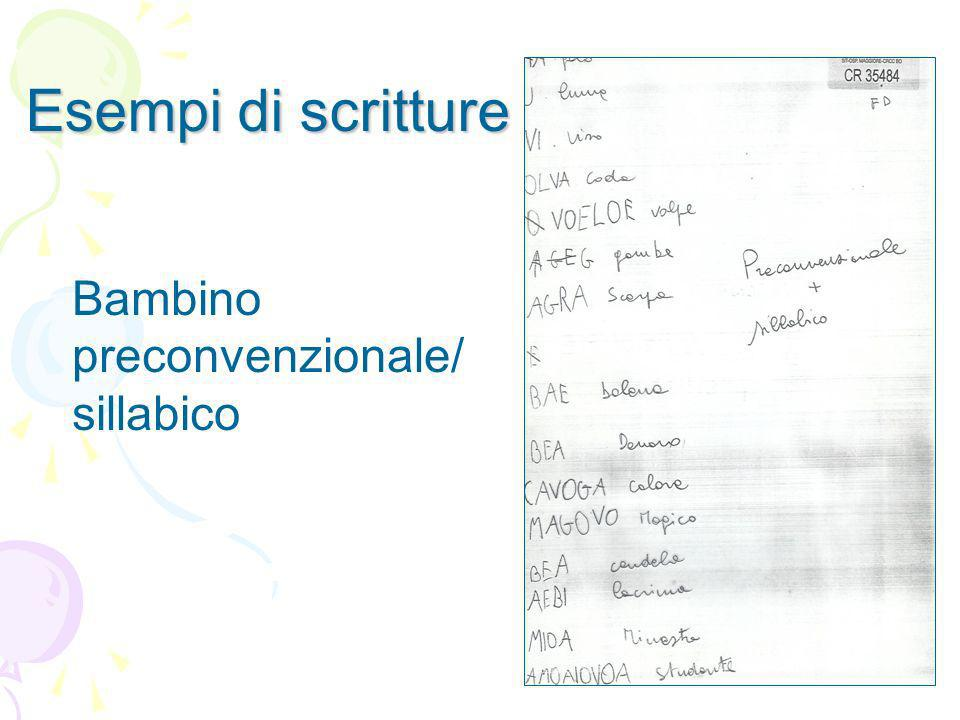 Esempi di scritture Bambino preconvenzionale/ sillabico
