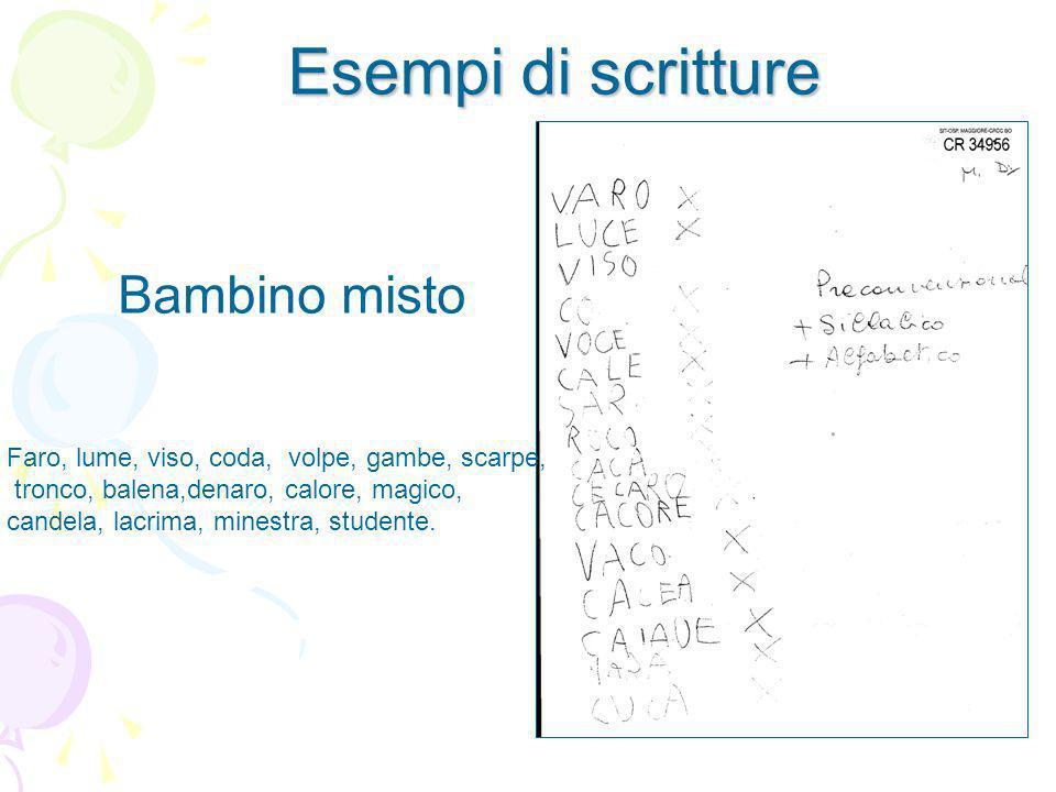 Esempi di scritture Bambino misto