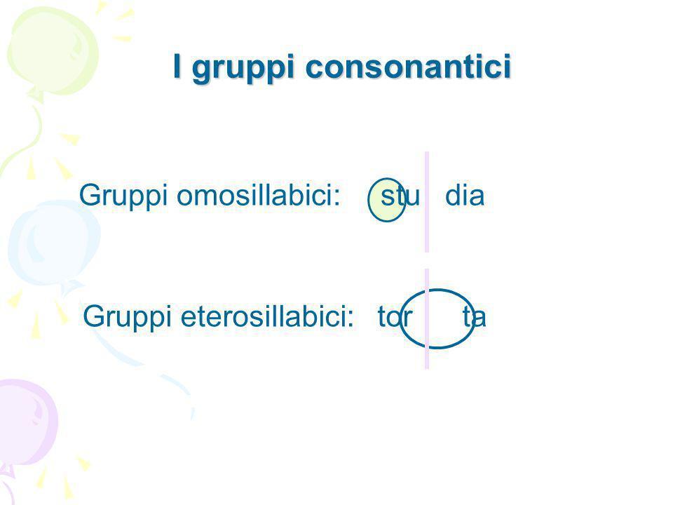 I gruppi consonantici Gruppi omosillabici: stu dia