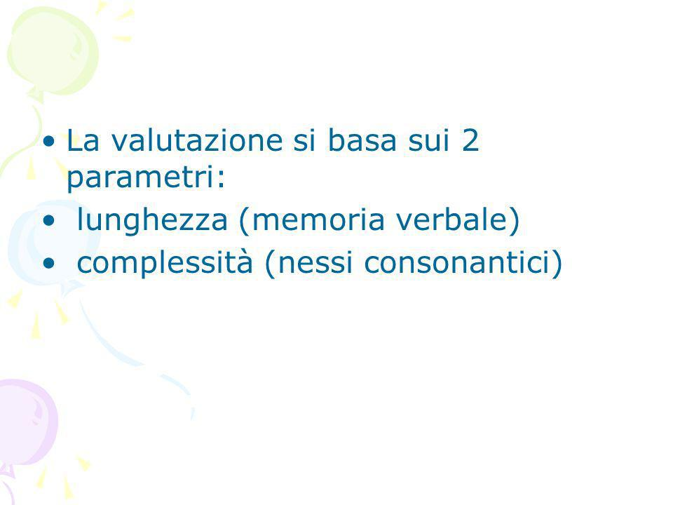 La valutazione si basa sui 2 parametri:
