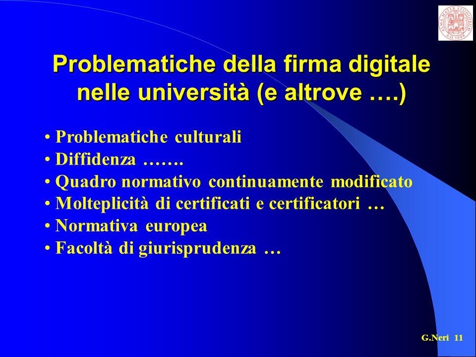 Problematiche della firma digitale nelle università (e altrove ….)