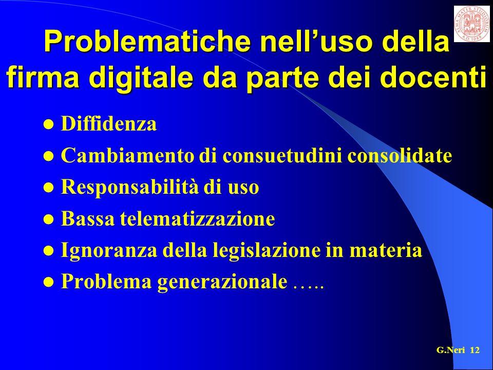 Problematiche nell'uso della firma digitale da parte dei docenti