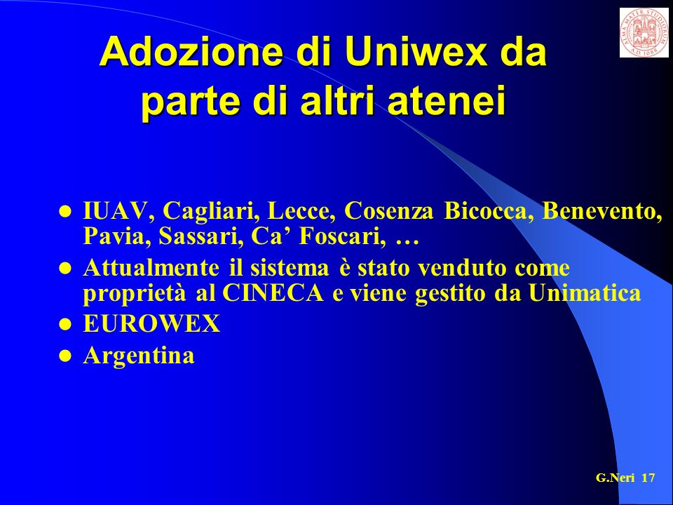 Adozione di Uniwex da parte di altri atenei
