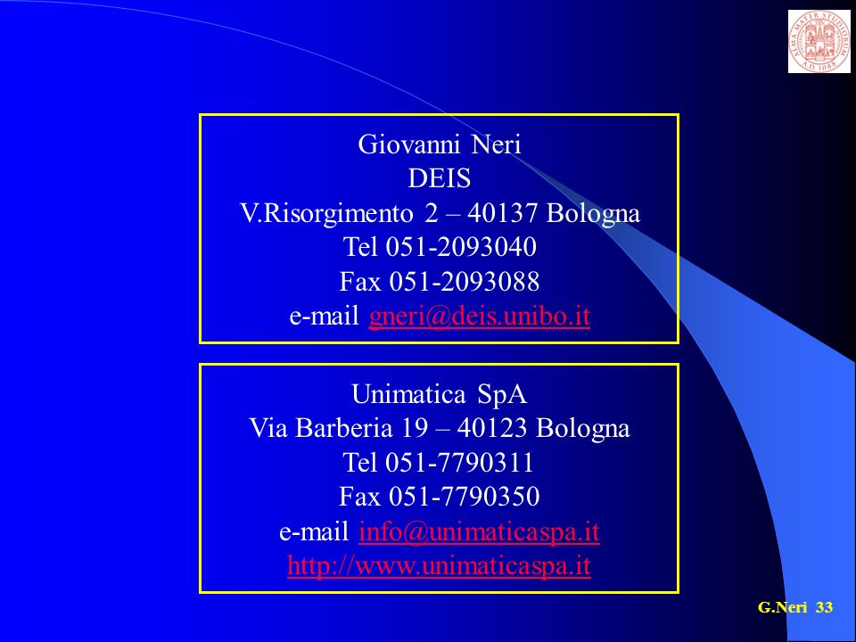 V.Risorgimento 2 – 40137 Bologna Tel 051-2093040 Fax 051-2093088