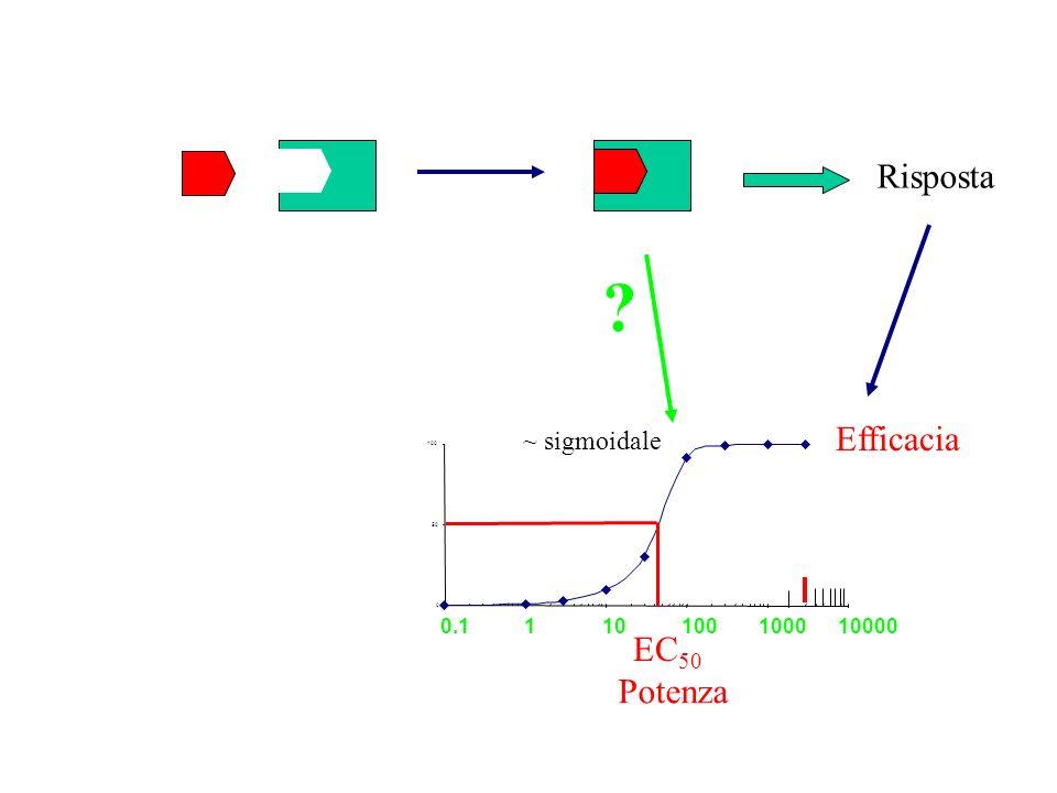 Risposta Efficacia EC50 Potenza ~ sigmoidale 0.1 1 10 1000 10000 100