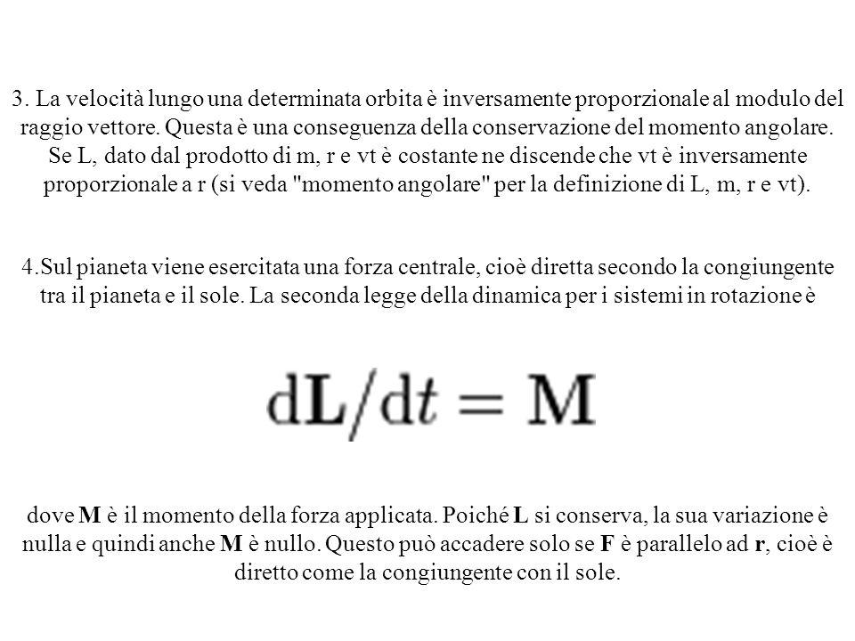 3. La velocità lungo una determinata orbita è inversamente proporzionale al modulo del raggio vettore. Questa è una conseguenza della conservazione del momento angolare. Se L, dato dal prodotto di m, r e vt è costante ne discende che vt è inversamente proporzionale a r (si veda momento angolare per la definizione di L, m, r e vt).