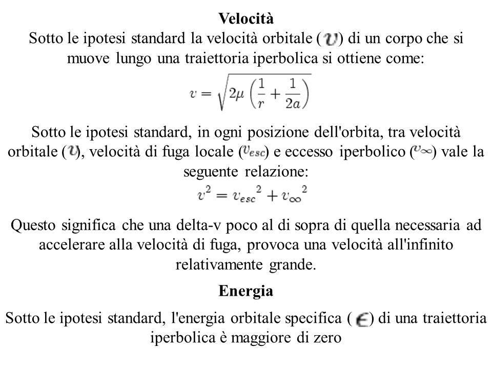 Velocità Sotto le ipotesi standard la velocità orbitale ( ) di un corpo che si muove lungo una traiettoria iperbolica si ottiene come: