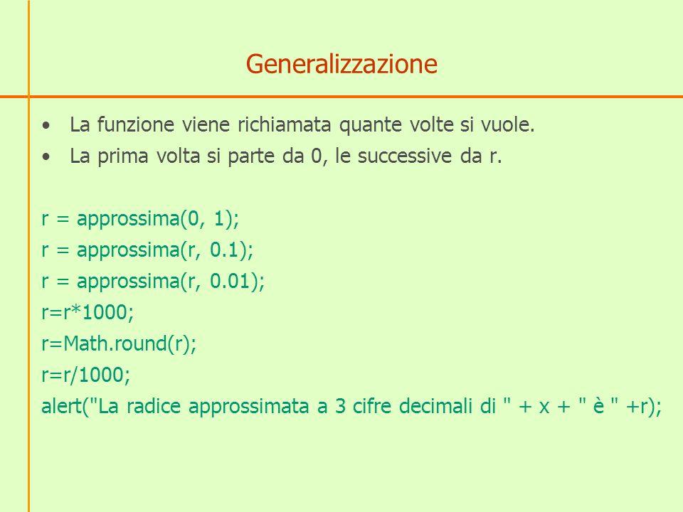 Generalizzazione La funzione viene richiamata quante volte si vuole.