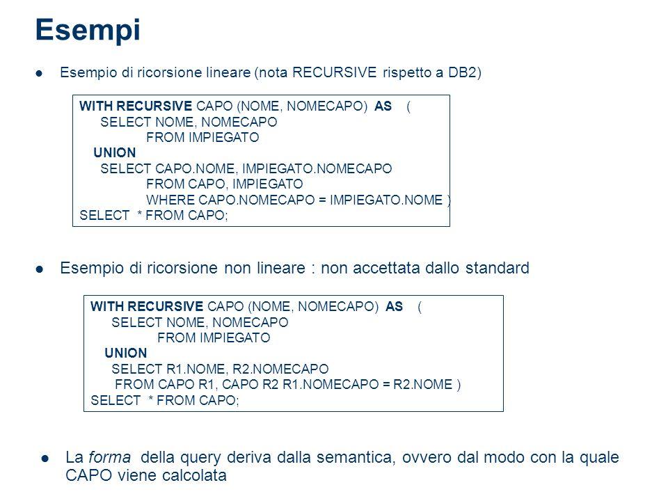 Esempi Esempio di ricorsione lineare (nota RECURSIVE rispetto a DB2) WITH RECURSIVE CAPO (NOME, NOMECAPO) AS (